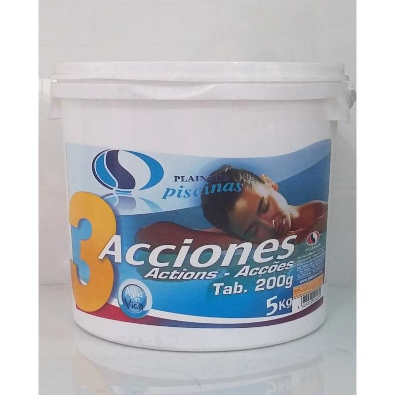 Cloro T-200 3 acciones para piscinas. Desinfectante-Algicida-Clarificante